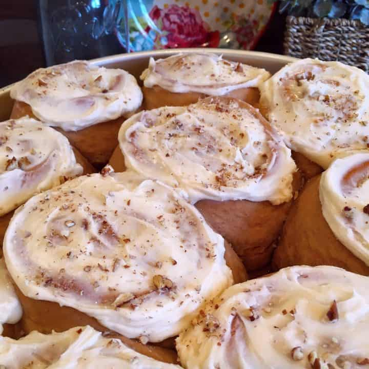 Carrot Cake Mix Cinnamon Rolls With Cream Cheese Frosting