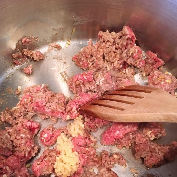 Browning Ground Beef in Pot