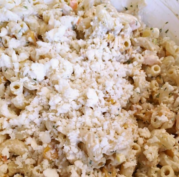 Mexican Seafood Pasta Salad with Cotija Cheese
