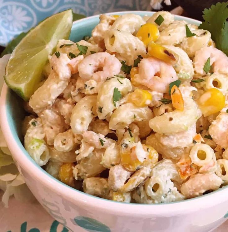 Creamy Cilantro dressing, tender macaroni, shrimp, white-lump crab, and roasted corn all come together to create this amazingly delicious and different Mexican Seafood Pasta Salad.