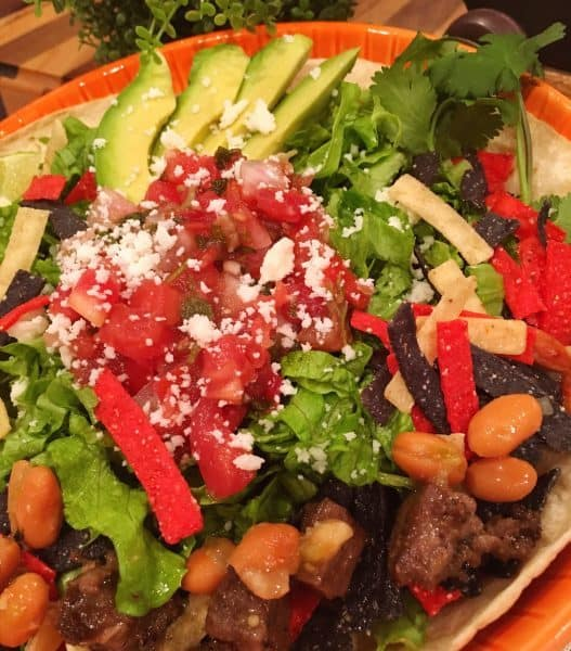 Bowl full of Steak Fajita Taco Salad