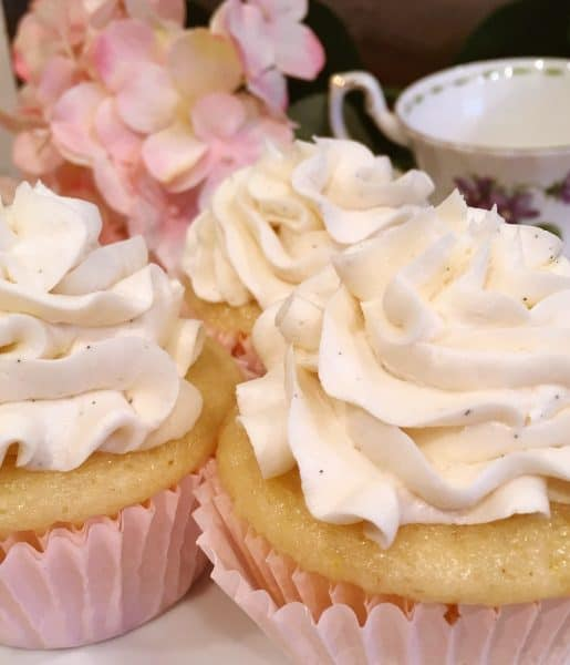 Close up of buttercream frosting on cupcake