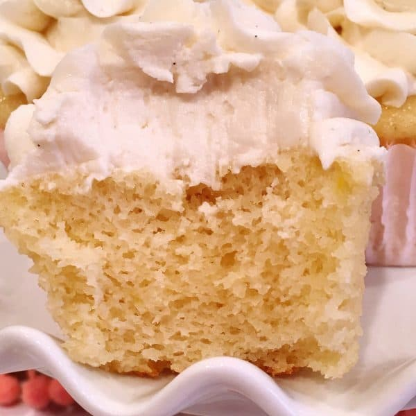 Bite out vanilla cupcake