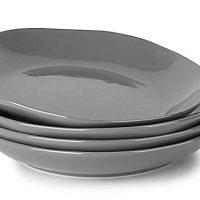 LE TAUCI 4 Piece Porcelain Salad Plate Set 8 Inch,Steel Gray