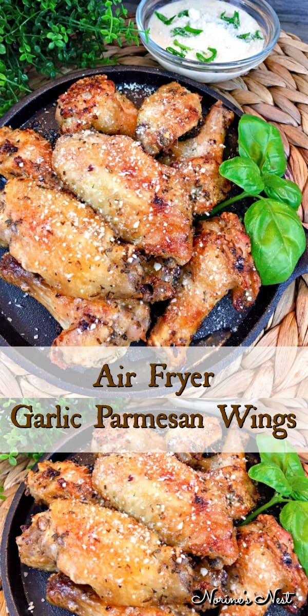 Crispy and juicy garlic Parmesan wings full of delicious flavors and made in an air fryer for healthier alternative to traditional wings.