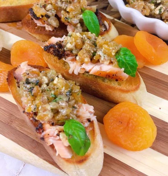 Close up of Grilled Salmon and Apricot Bruschetta