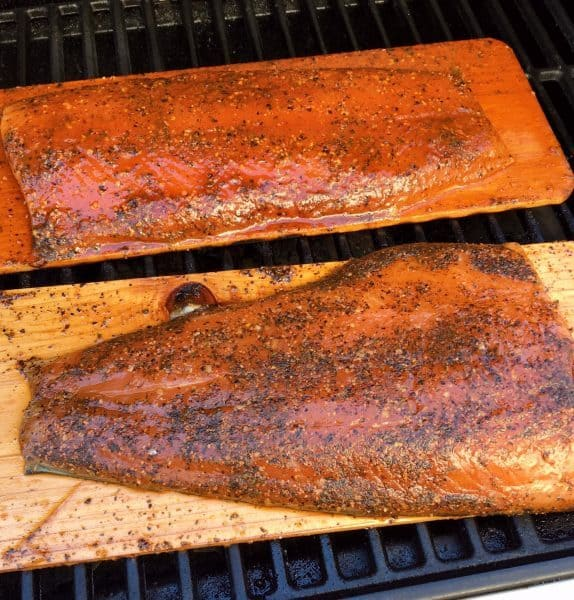 Cedar Bay Grilling Company Salmon on cedar planks