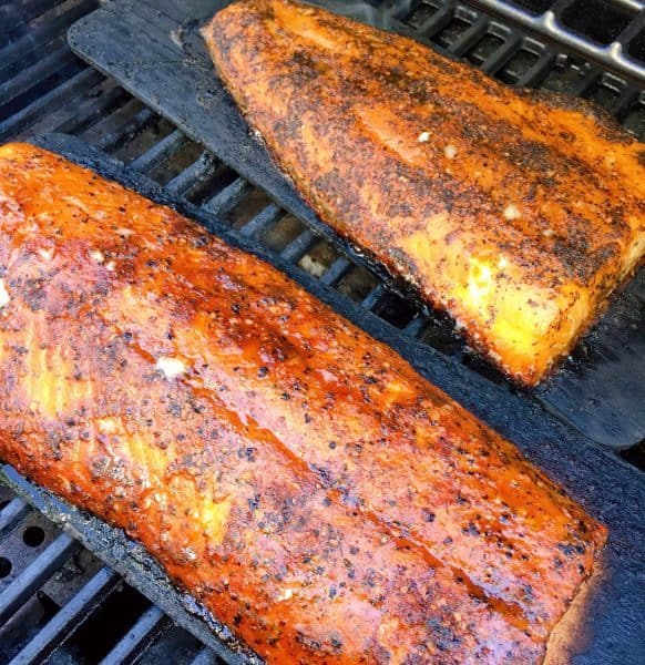 Grilled Salmon on Cedar Planks in the BBQ