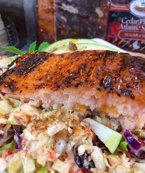 Grilled Salmon with Green Apple Slaw