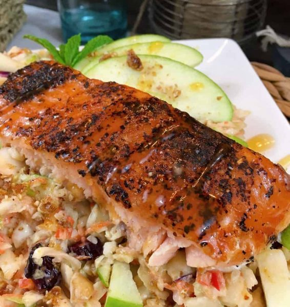 Grilled Salmon and Green Apple slaw
