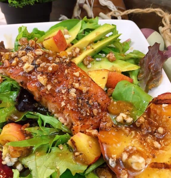 Grilled Salmon and Peach Salad up close