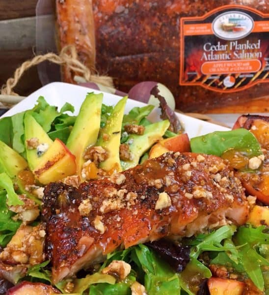 Grilled Salmon and Peach Salad with salmon label