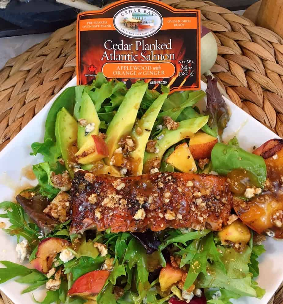 Grilled Salmon and Peach Salad made with Cedar Bay Salmon
