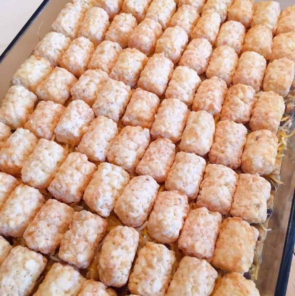 Tater Tots added to the casserole