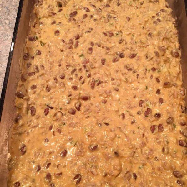 Meat mixture in 9 x 13 baking pan.