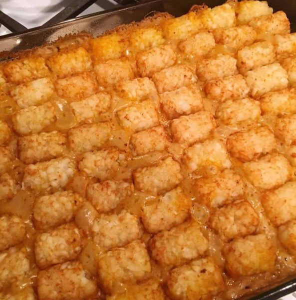 Baked Tater Tot casserole right before adding cheese.