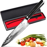 Zulay Kitchen 8 Inch Chef Knife Full Tang Damascus Steel for Professional Cutting Chopping Cooking Meat Steak Fish Vegetables and More