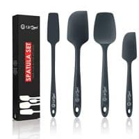 Silicone Spatula Set | 4 Versatile Tools Created for Cooking, Baking and Mixing | One Piece Design, Non-Stick & Heat Resistant | Strong Stainless Steel Core (UpGood Kitchen Utensils, Formal Grey)