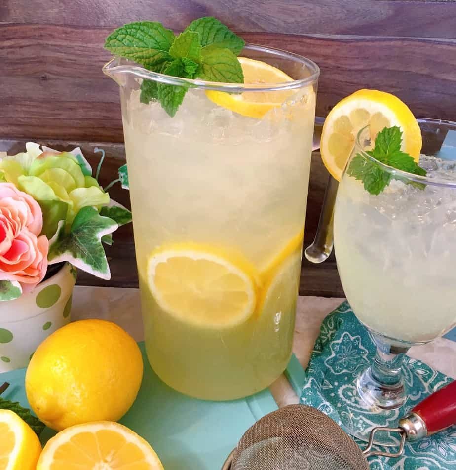 tall pitcher of fresh homemade lemonade