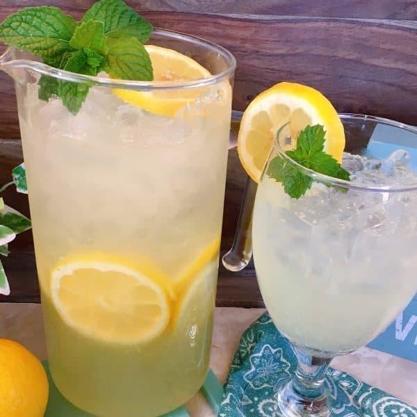 Close up of pitcher of fresh homemade lemonade