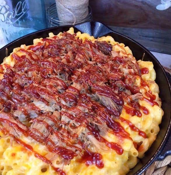Leftover BBQ pulled pork with macaroni and cheese.