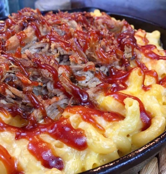 Leftover BBQ pulled pork Mac and Cheese