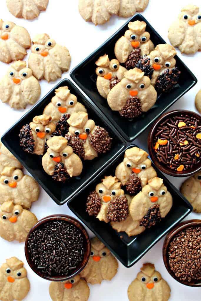 Cinnamon Spritz Owl Cookies