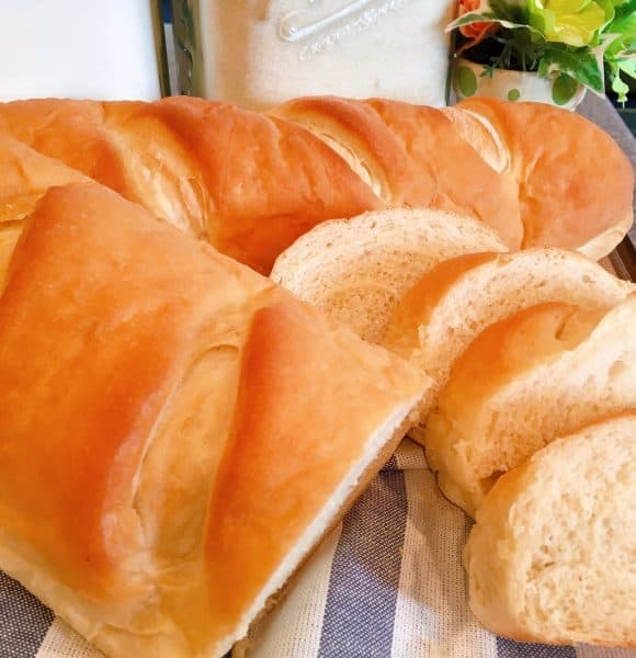 Slices of homemade soft french bread