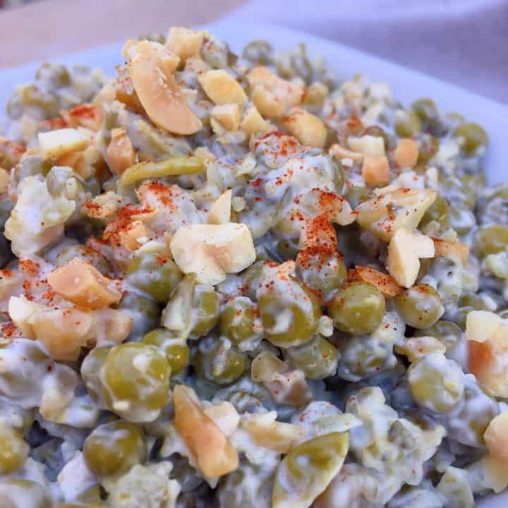Grandma's Pea Salad with Peanuts in a serving bowl