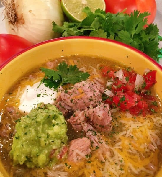 Instant Pot Chili Verde in a large bowl