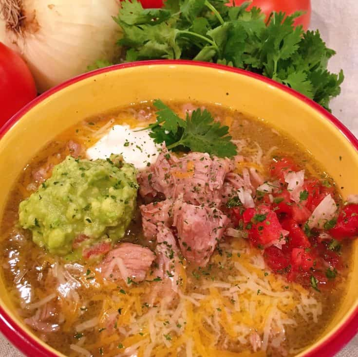 Tender chunks of pork in a rich and warm easy instant pot Chili Verde perfect as a soup, over rice, as a sauce for your Mexican dishes. A delicious, quick, and easy dish!
