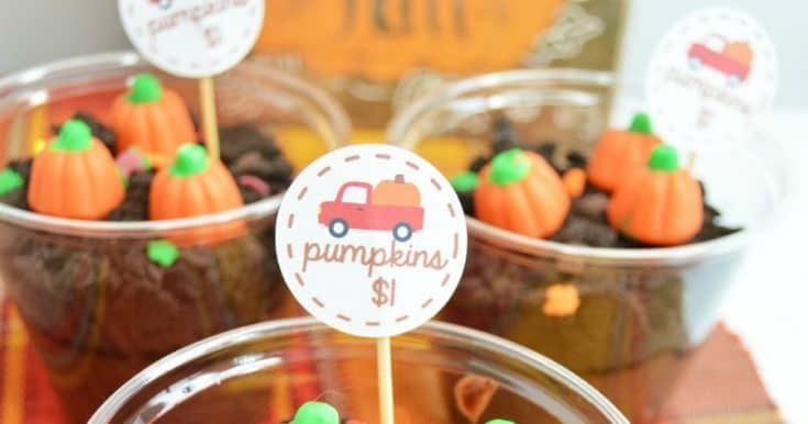 Pumpkin Patch Dirt Pudding Cups {with a cute free printable!}