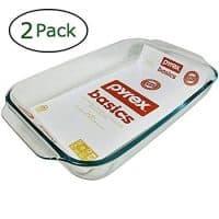 Pyrex Basics 3 Quart Oblong Glass Baking Dish, Clear 9 x 13 inch (Set of 2)