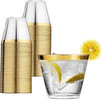 Perfect Settings Clear Plastic Cups - Enhance Your Celebration With Our Classy Gold Trimmed Disposable Cups - Pack of 110 9oz Fancy Wedding Cups