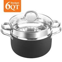 SHINEURI 6 Quart Nonstick Copper Stockpot with Lid, Deep stock pot with Stainless Steel Steamer Inset - Perfect for Soup, Stew, Roast, Pasta & Sauce, SuitableforInduction, Gas,Electric&Stovetops