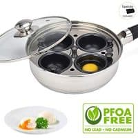 Egg Poacher Pan - Stainless Steel Poached Egg Cooker – Perfect Poached Egg Maker – Induction Cooktop Egg Poachers Cookware Set with 4 Nonstick Large Silicone Egg Poacher Cups and Spatula