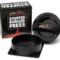 Grillaholics Stuffed Burger Press and Recipe eBook - Extended Warranty - Hamburger Patty Maker for Grilling - BBQ Grill Accessories