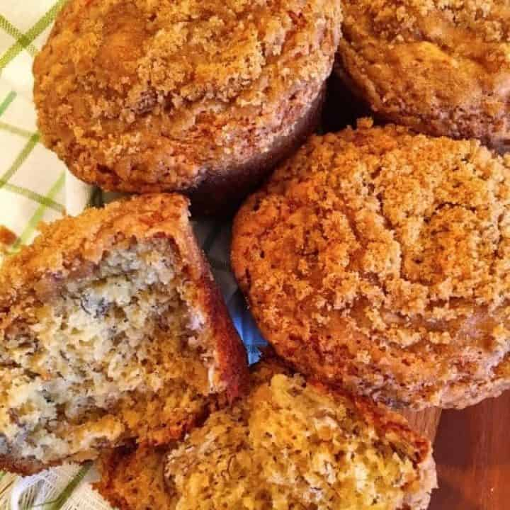 Banana Crumb Muffins in a bread basket