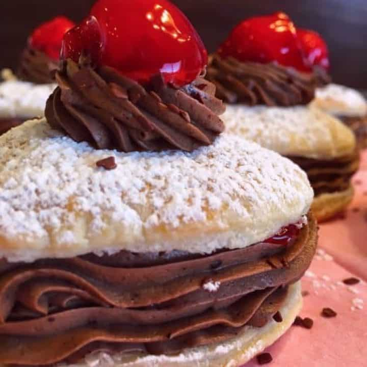 Chocolate Cherry Valentine Napoleons