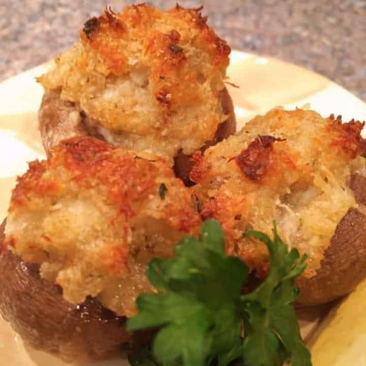 Three Crab Stuffed Mushrooms with Garlic Butter