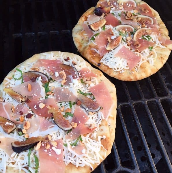 Two pizza's on the grill