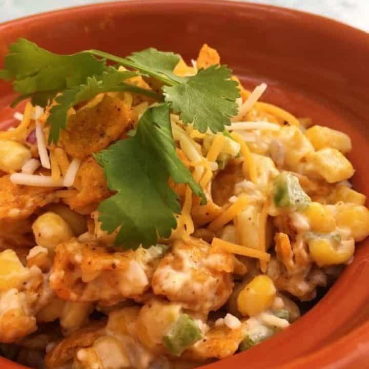 bowl full of frito corn salad