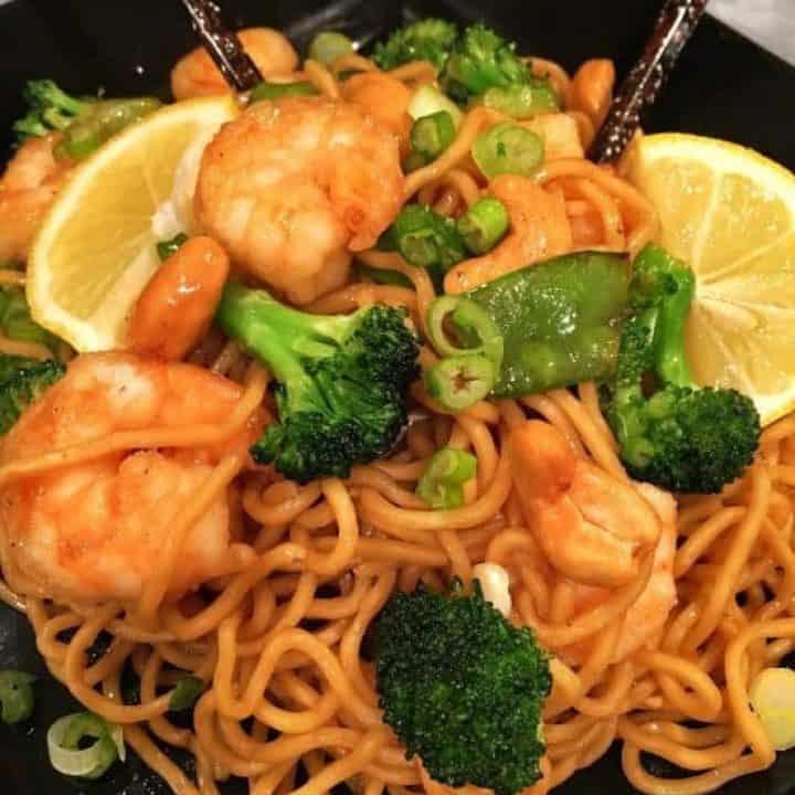 Ginger Soy Lemon Shrimp & Noodles