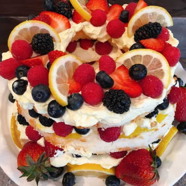 Easy Lemon Berry Angel Food Cake