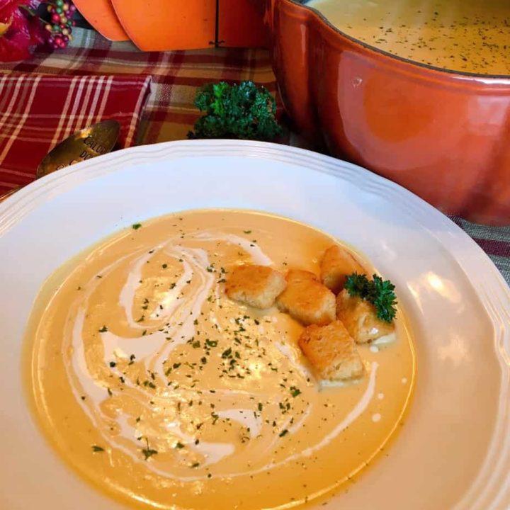 Bowl full of Instant Pot Butternut Pumpkin Soup