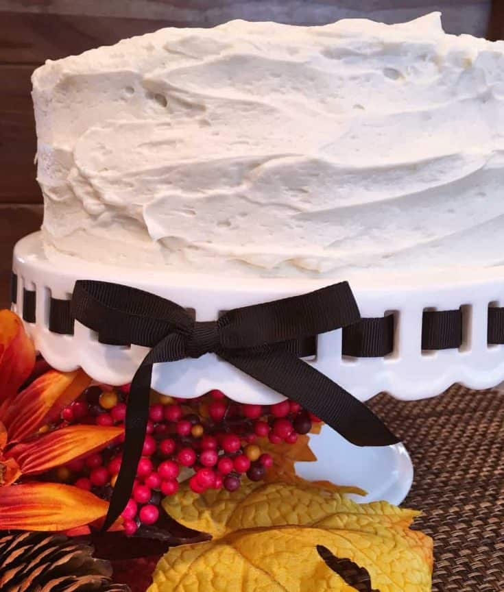 Delicious, light and fluffy! This cake is the taste of Fall in every delicious bite! Topped with a creamy smooth Cream Cheese Frosting it will disappear as quickly as the falling leaves!