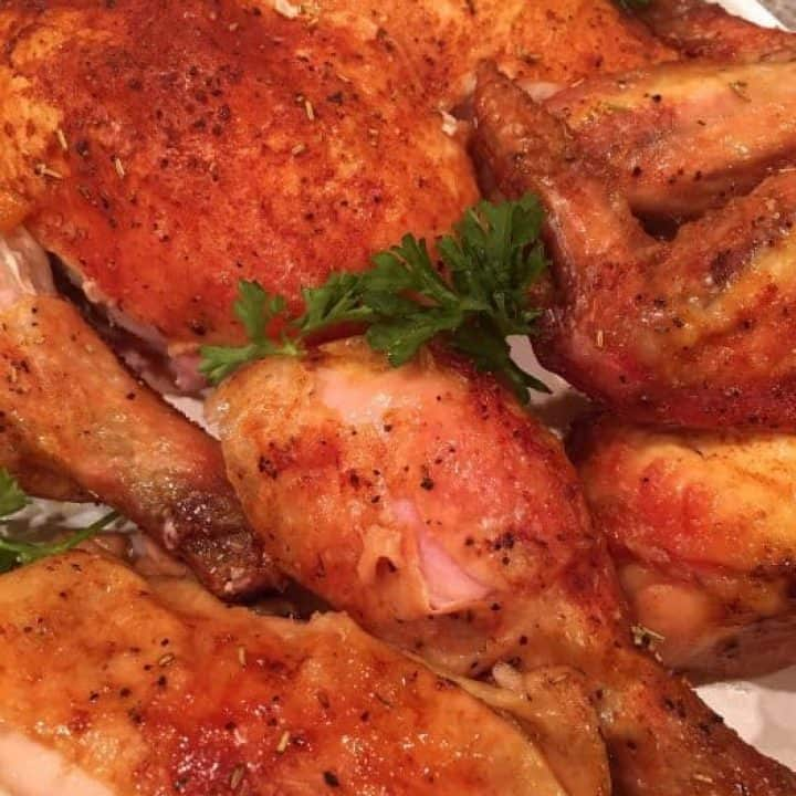 Roasted Rotisserie Style Sticky Chicken