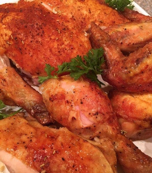 Is there anything better than slow Roasted Rotisserie Chicken? The kind you get at your favorite restaurant. Well with a little prep, and about 5 hours of cooking time, you can have it right at home!