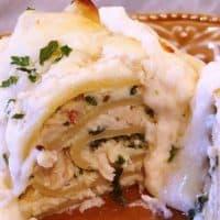 Spinach Chicken Alfredo Lasagna Roll Ups