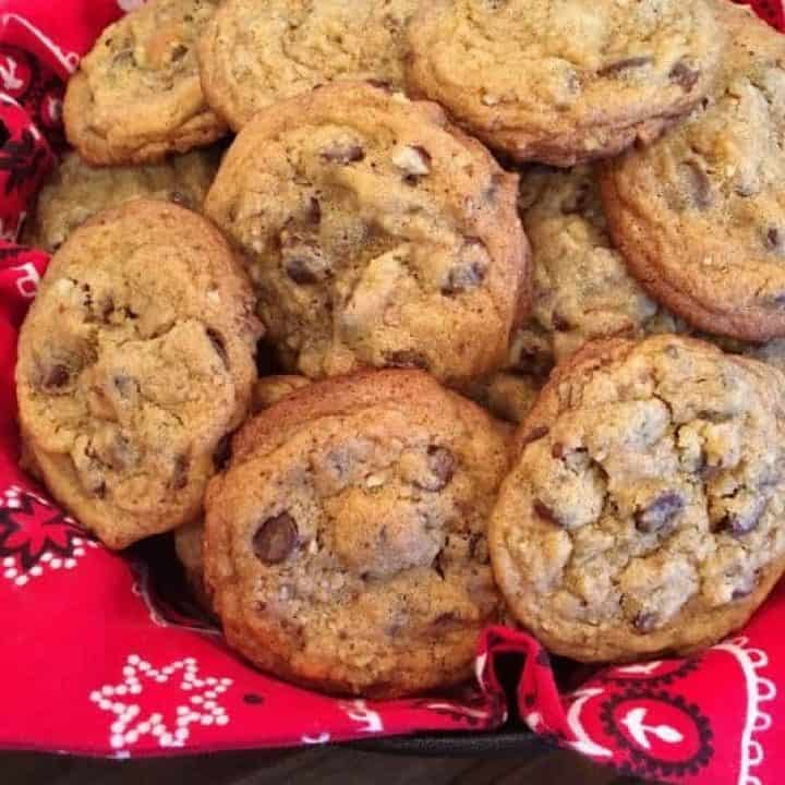 Big pile of chocolate chip cookies